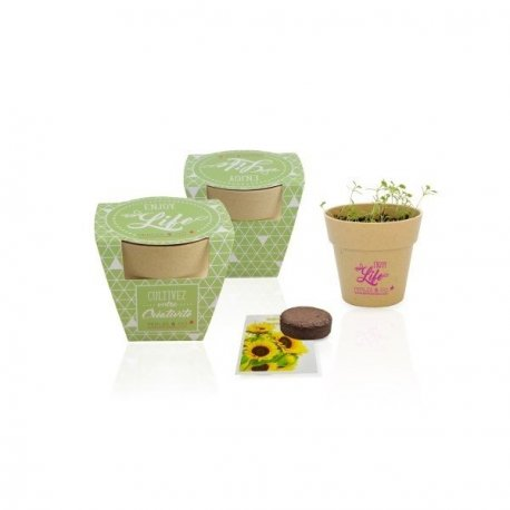 KIT DE PLANTATION POT BIODÉGRADABLE BAMBOU PERSONNALISABLE